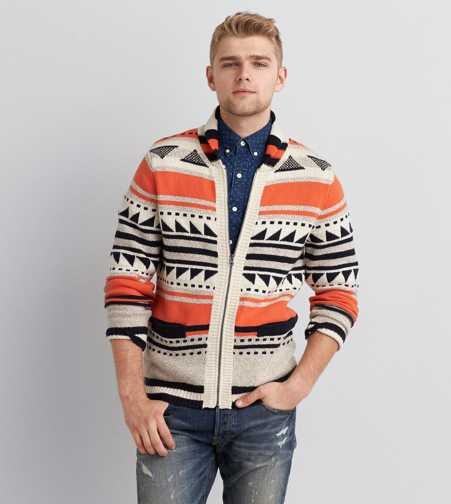 AEO Zip Up Southwestern Sweater