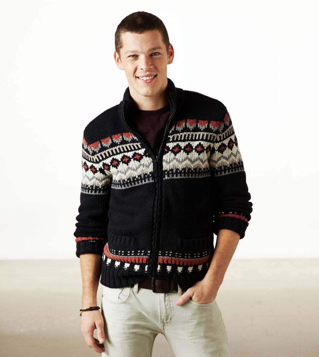 True Black AE Fair Isle Zip Cardigan