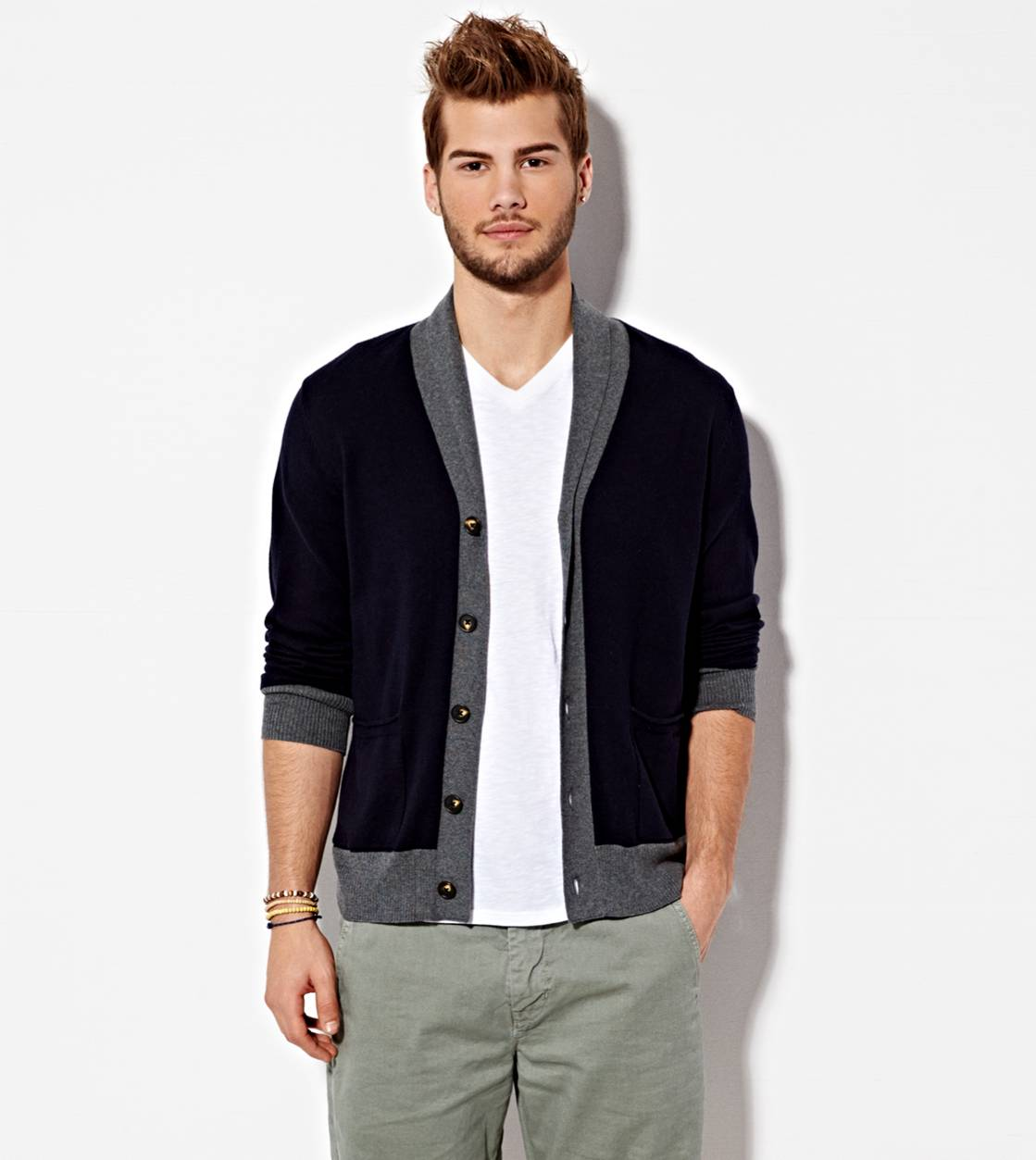 Peacoat Navy AE Shawl Collar Cardigan