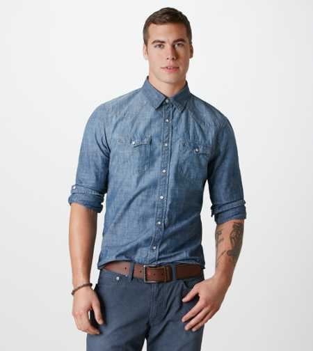 AE Chambray Western Shirt - Take 40% off