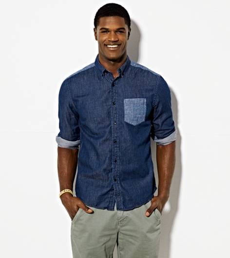 Indigo AEO Colorblock Chambray Button Down Shirt