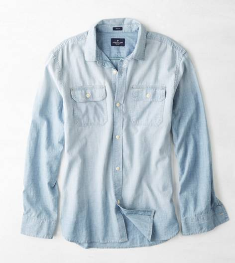 Light Blue AEO Denim Workwear Shirt