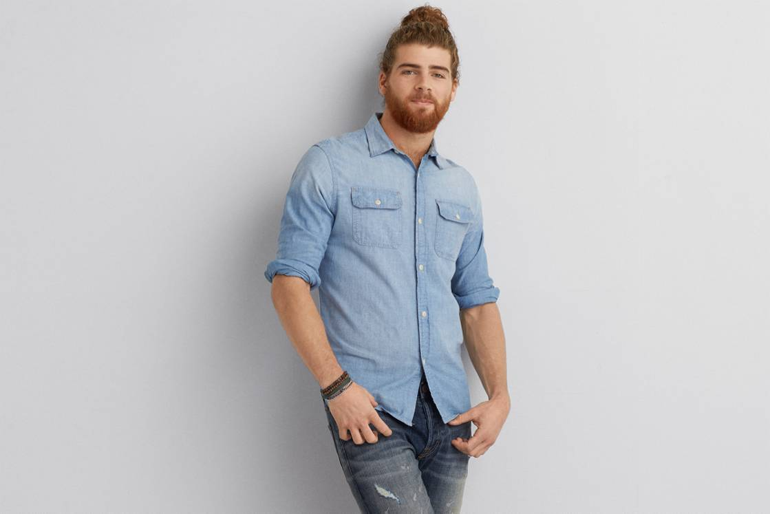 Light Blue AE Denim Workwear Shirt