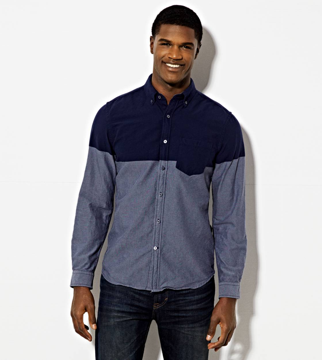 Blue AE Colorblock Oxford Button Down Shirt