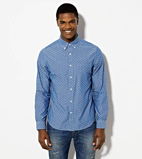 Blue AEO Printed Chambray Button Down Shirt