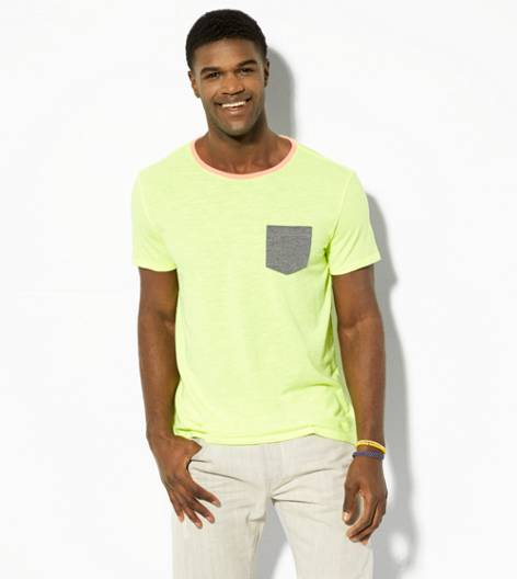 Neon Yellow AEO Vintage Pocket T-Shirt