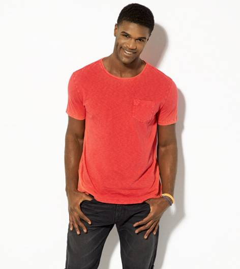 Bright Neon Red AEO Vintage Pocket T-Shirt