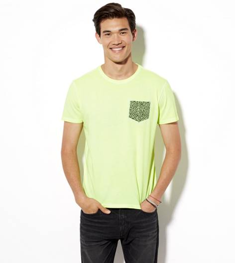 Neon Lemon AEO Vintage Pocket T-Shirt