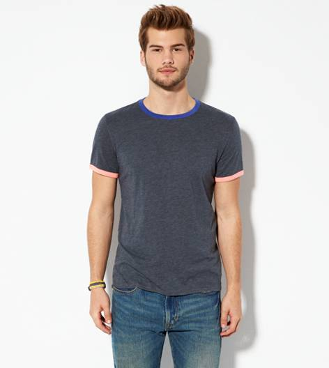 Black AEO Legend Crew Ringer T-Shirt