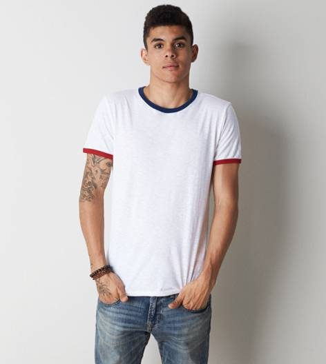 White  AEO Legend Crew Ringer T-Shirt
