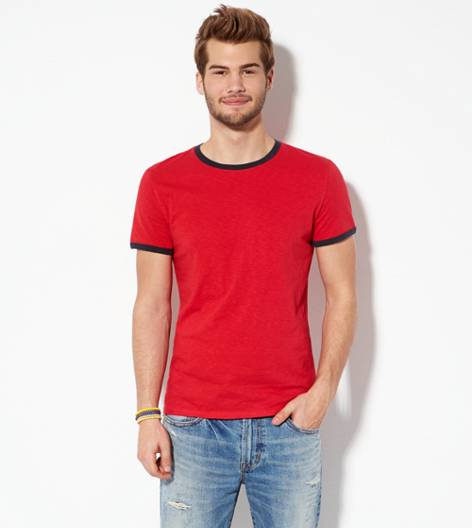 Nautical Red AEO Legend Crew Ringer T-Shirt