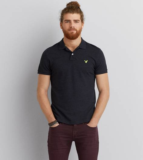 Black AEO Solid Polo