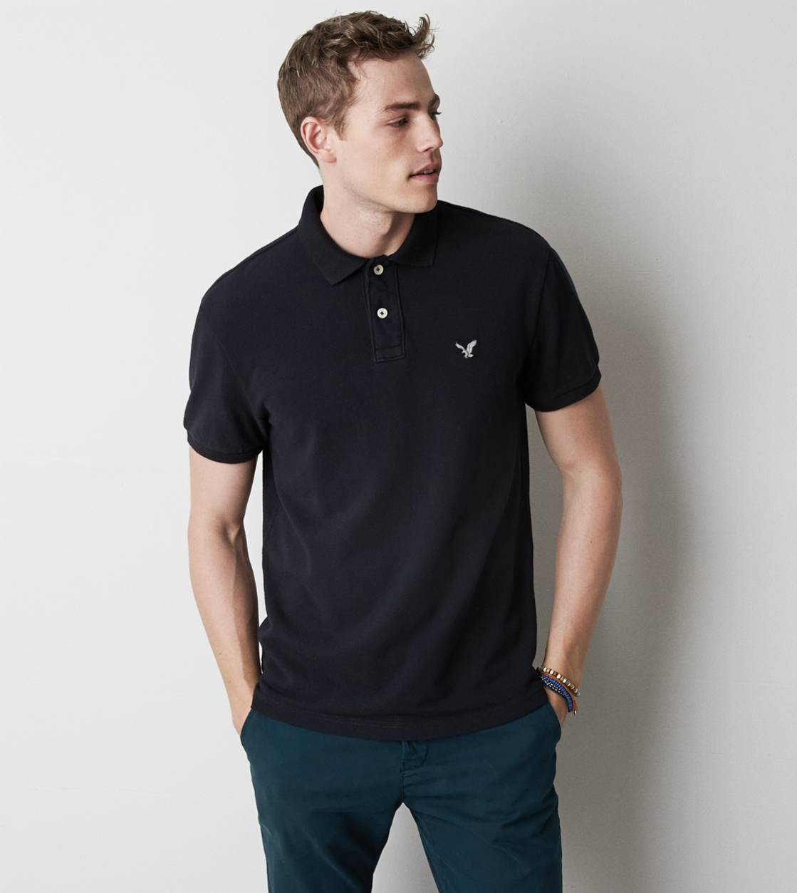 True Black AE Solid Polo