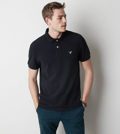 True Black AEO Solid Polo