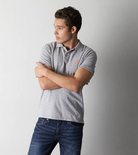 Derby Grey Heather AEO Solid Polo