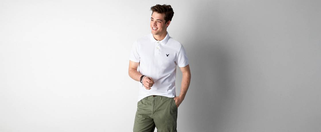 White  AE Solid Polo