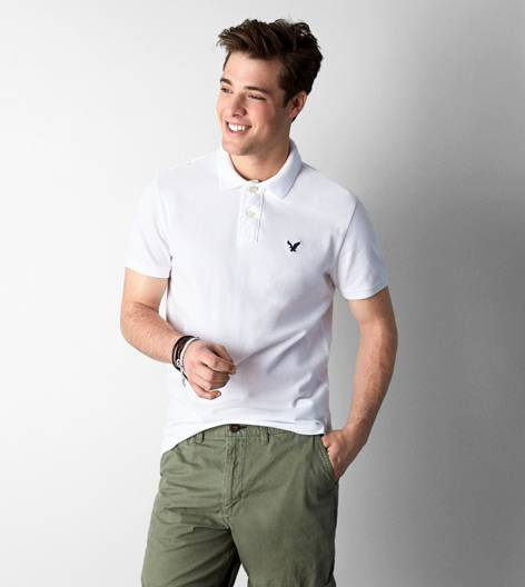 White  AEO Solid Polo