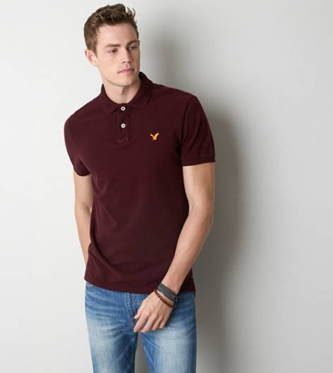 Burgundy Ivy AEO Solid Polo