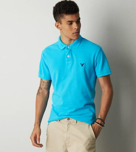 Turquoise Water AEO Solid Polo