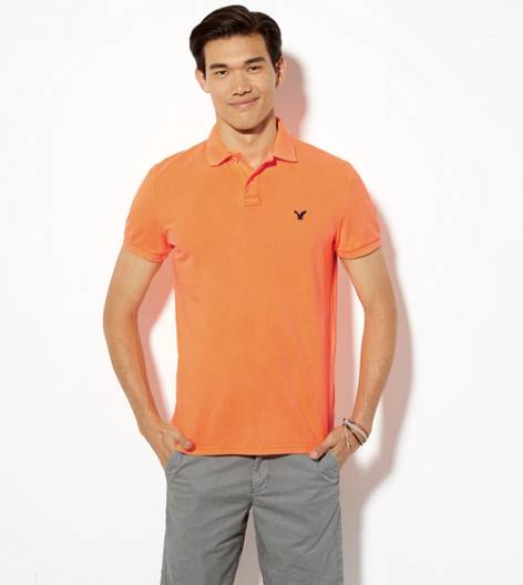 Neon Orange AEO Solid Polo