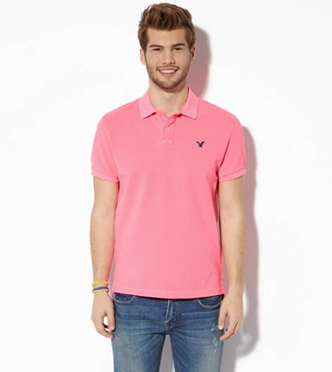 Hyper Neon Pink AEO Solid Polo