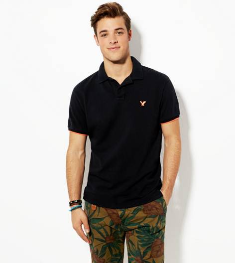 True Black AEO Tipped Polo