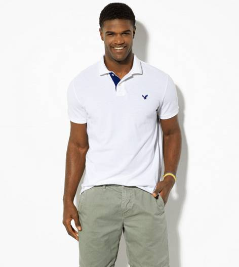 White  AEO Contrast Placket Polo