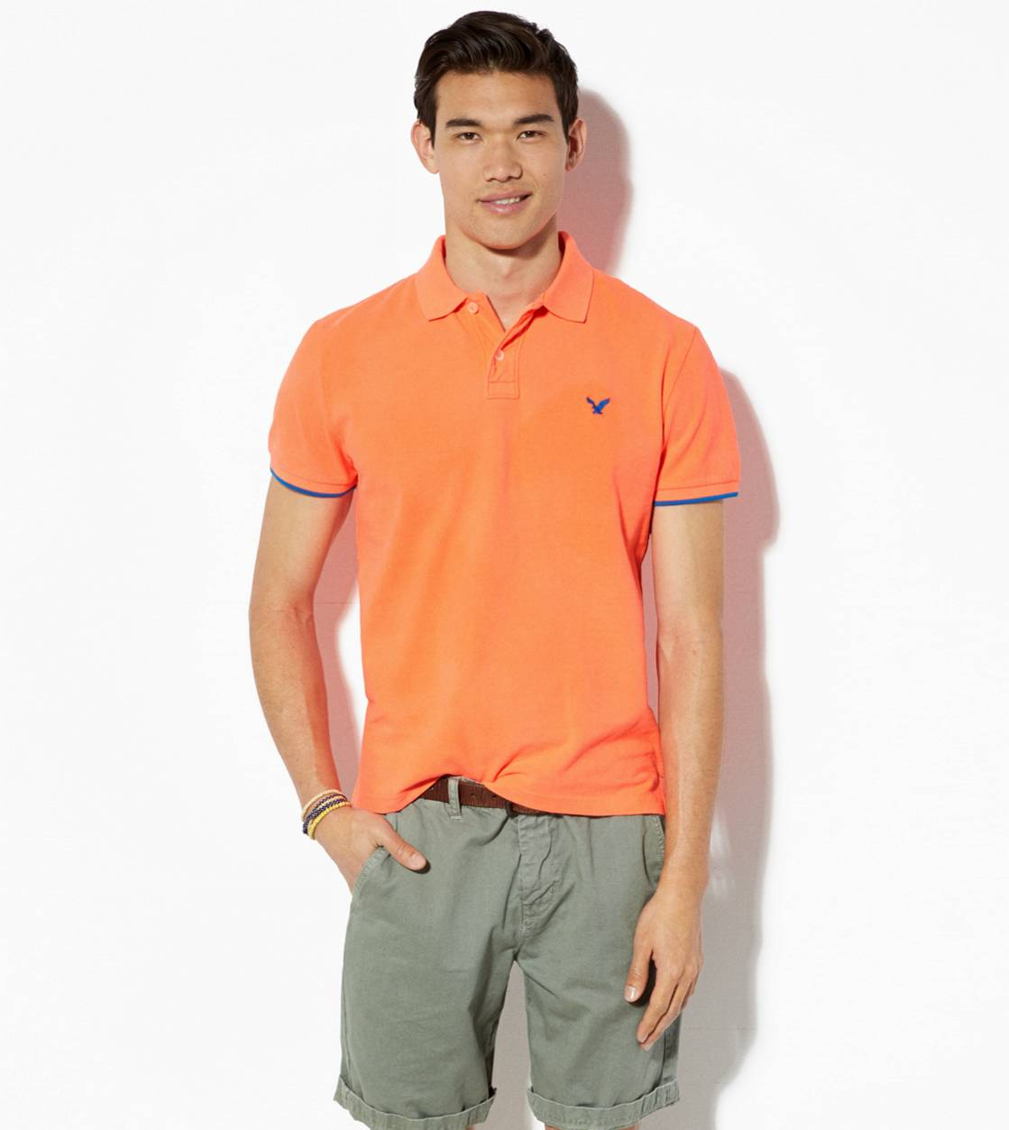 Bright Neon Red AE Tipped Polo