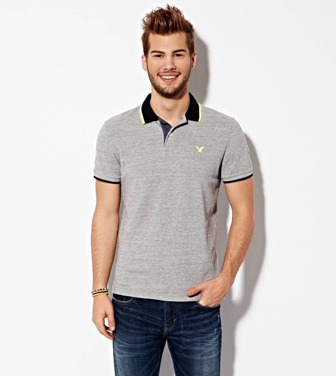 Derby Grey Marl AE Tipped Polo