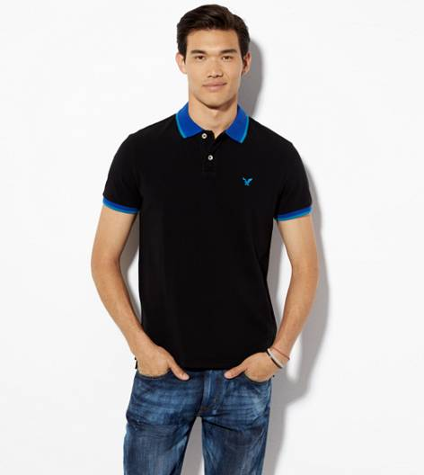 Cobalt Blue AEO Tipped Polo