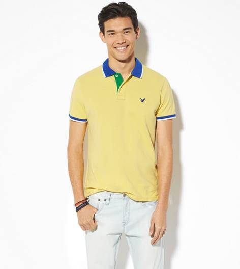 Starbright Yellow AEO Tipped Polo