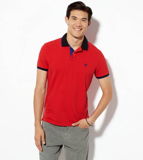 Nautical Red AEO Tipped Polo