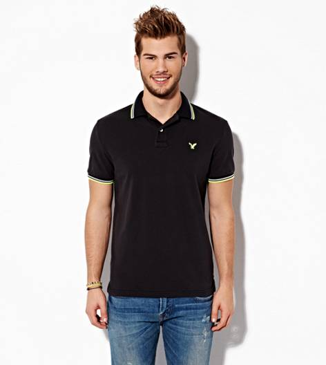 Black AEO Double Tipped Polo