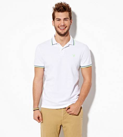 White  AEO Double Tipped Polo