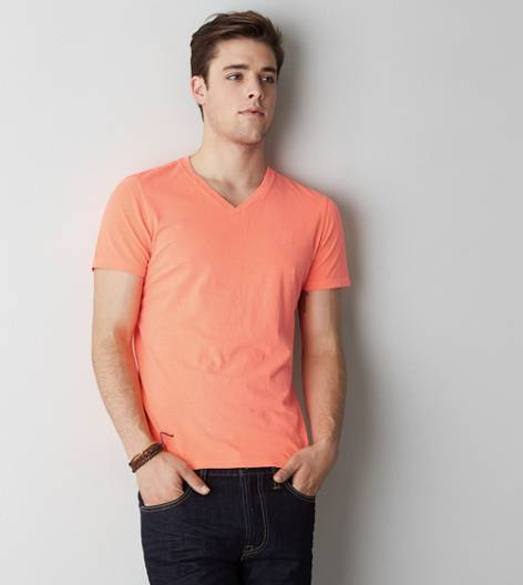 Bright Neon Red AEO Legend V-Neck T-Shirt
