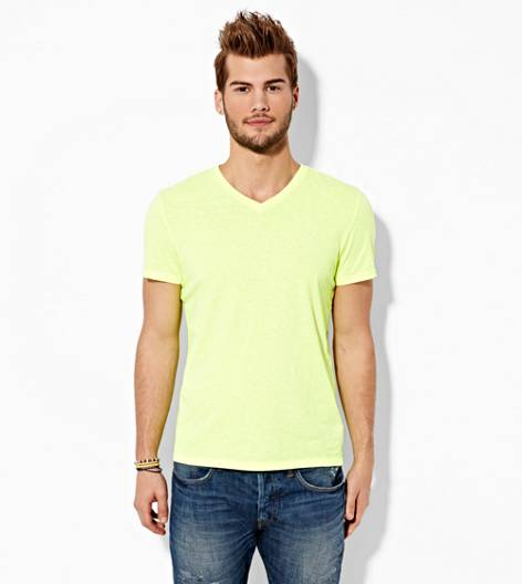 Neon Yellow AEO Legend V-Neck T-Shirt