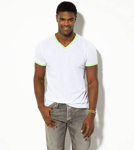 White  AEO Legend Ringer V-Neck T-Shirt