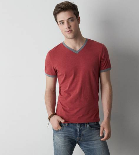 Red Dust AEO Legend Ringer V-Neck T-Shirt