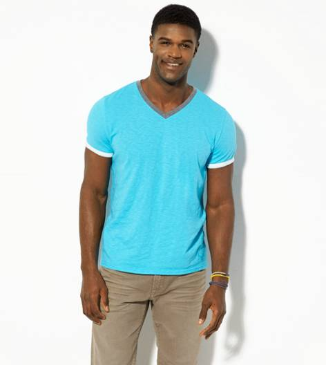 Tidal Blue AEO Legend Ringer V-Neck T-Shirt