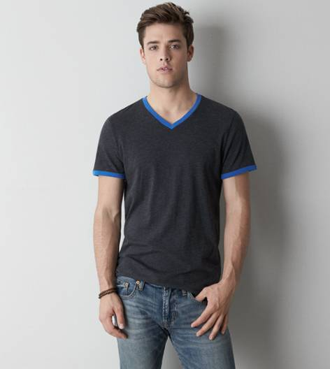 Ebony Grey AEO Legend Ringer V-Neck T-Shirt