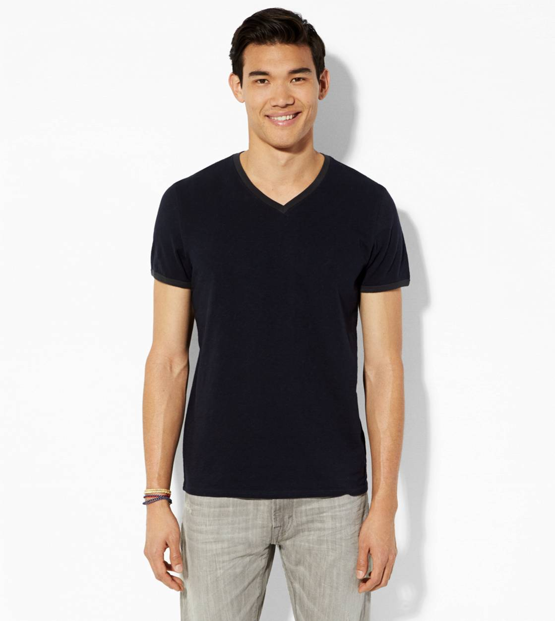 Peacoat Navy AE Legend Ringer V-Neck T-Shirt