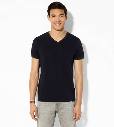 Peacoat Navy AEO Legend Ringer V-Neck T-Shirt