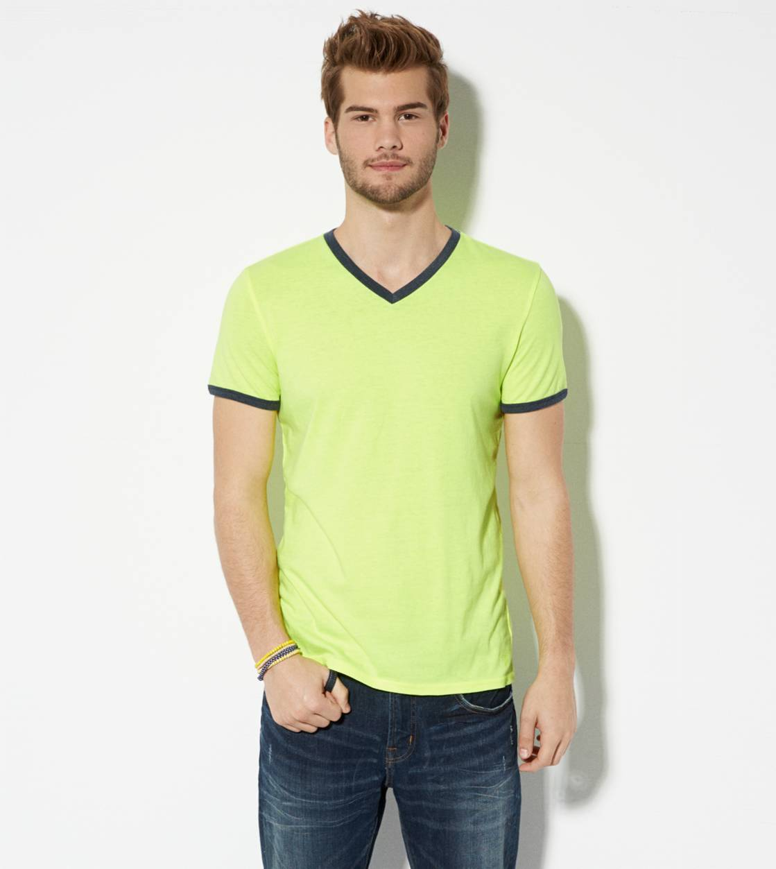 Neon Lemon AE Legend Ringer V-Neck T-Shirt