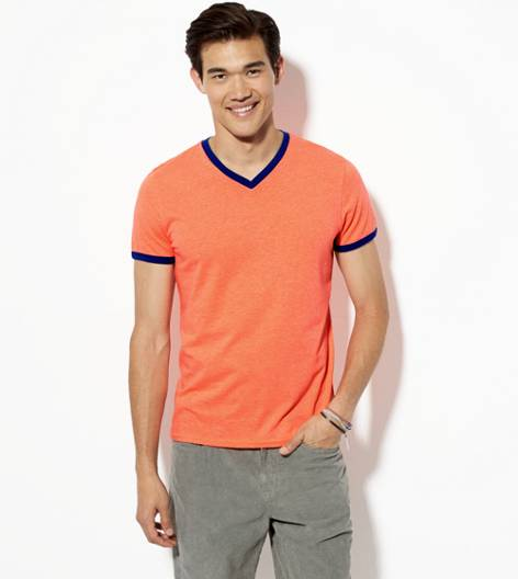 Safe Orange AEO Legend Ringer V-Neck T-Shirt