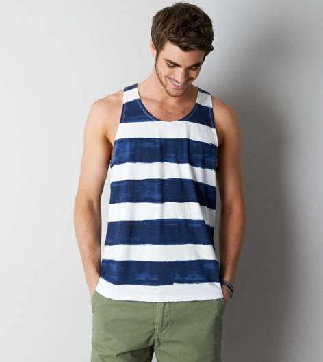 Navy AEO Vintage Striped Tank