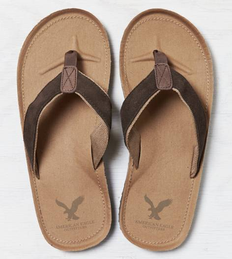Brown AEO Suede Flip Flop
