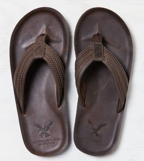 Dark Brown AEO Leather Flip Flop