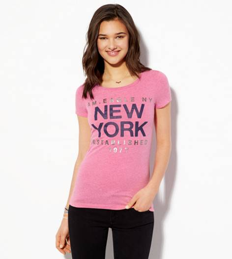Pink AE NYC Graphic T-Shirt