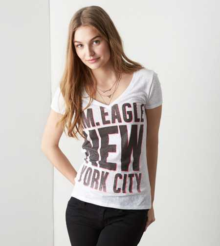 AEO Real Soft® NYC V-Neck Graphic T-Shirt - Buy One Get One 50% Off