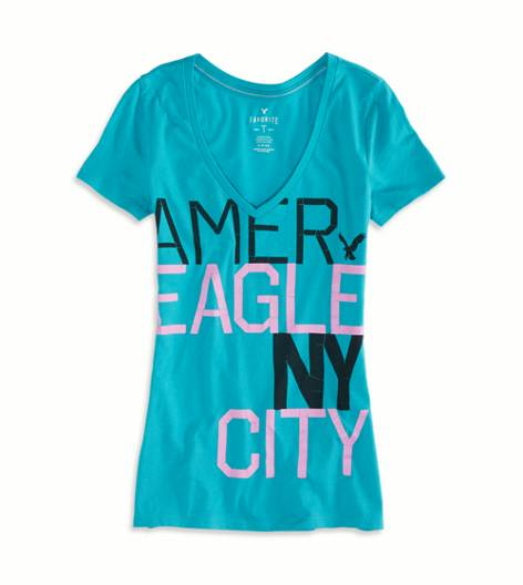Teal AE Real Soft® Signature Graphic V-Neck T-Shirt